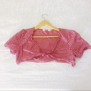 Nasty Gal Red and White Gingham Croptop